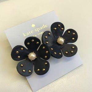 Kate Spade Navy Leather Flower earrings